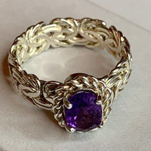 Sterling 925 Filigree Amethyst Ring - Size 7.5